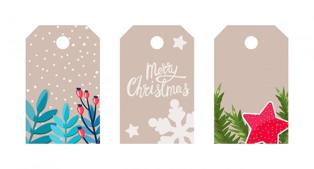 Tag regalo con decorazioni natalizie, fiocchi di neve, ramo di abete, stelle, scritte.