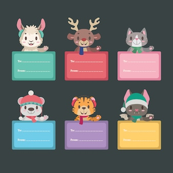 Tag regalo di natale con simpatici animali