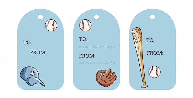 Tag regalo per oggetti da baseball. etichette scarabocchi palla, mazza, cappello e catchig. set disegnati a mano