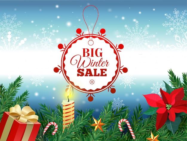 Tag saldi invernali. etichetta rossa di vendita che appende nel fondo bianco dei fiocchi della neve di inverno per la promozione al minuto stagionale. illustrazione vettoriale