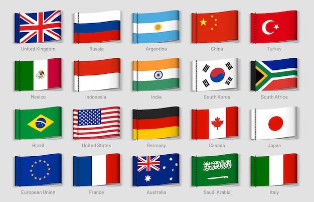 Tag tessuto bandiere nazionali. etichette di paesi, set di tag bandiera paese ufficiale
