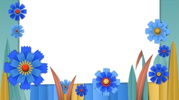Tagli la bandiera floreale di carta con i fiordalisi