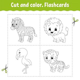 Taglia e colora. set di schede flash. fenicottero, tigre, leone, zebra. libro da colorare per bambini.