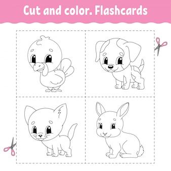 Taglia e colora. set di schede flash. libro da colorare per bambini.