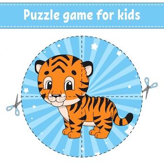 Taglia e gioca. puzzle logico per bambini. foglio di lavoro per lo sviluppo dell'istruzione. gioco di apprendimento. pagina delle attività.