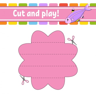 Taglia e gioca. puzzle logico per bambini. foglio di lavoro per lo sviluppo dell'istruzione. gioco di apprendimento.