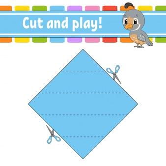 Taglia e gioca. puzzle logico per bambini.
