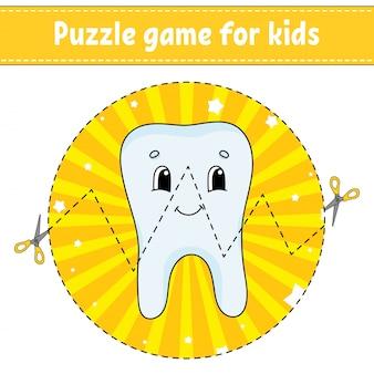 Taglia e gioca. puzzle rotondo. dente sano.