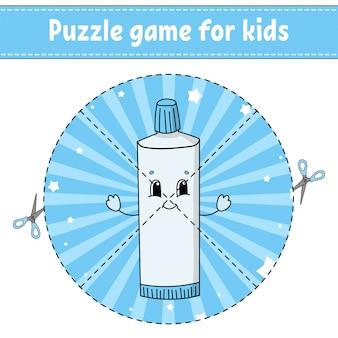 Taglia e gioca. puzzle rotondo. tubetto di dentifricio.