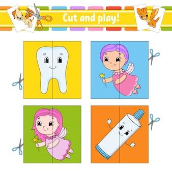 Taglia e gioca. schede flash. puzzle di colore. dente, dentifricio, fata. foglio di lavoro per lo sviluppo dell'istruzione.