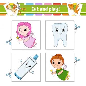 Taglia e gioca. schede flash. puzzle di colore. dente, dentifricio, fata.