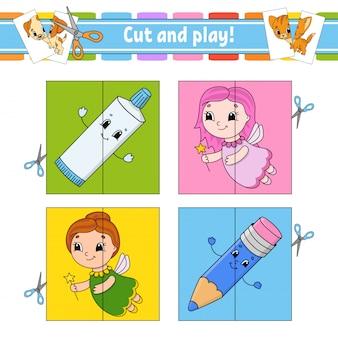Taglia e gioca. schede flash. puzzle di colore. dentifricio, fata, matita.