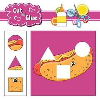 Taglia e incolla. gioco per bambini. foglio di lavoro per lo sviluppo dell'istruzione. personaggio dei cartoni animati.