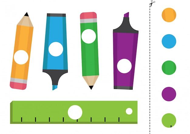 Taglia e incolla il gioco logico per i bambini. cartoleria colorata.