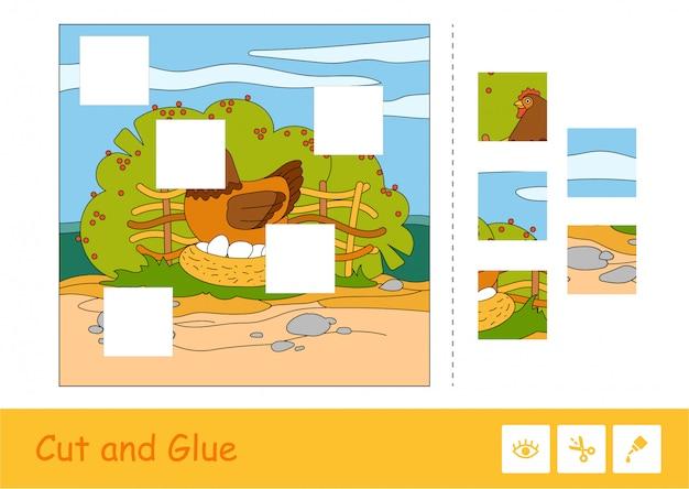 Taglia e incolla il puzzle che impara il gioco dei bambini con l'immagine di colore del pollo della nidiata che si siede sulle uova nel nido sulla campagna.