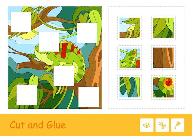 Taglia e incolla il puzzle che impara il gioco dei bambini con l'immagine variopinta del camaleonte sveglio che si siede su un albero in una foresta pluviale. attività educativa relativa agli animali per bambini.
