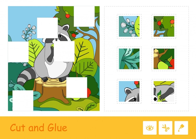 Taglia e incolla il puzzle che impara il gioco dei bambini con l'immagine variopinta di un procione che mangia una mela in un legno. attività educativa sugli animali selvatici per bambini.