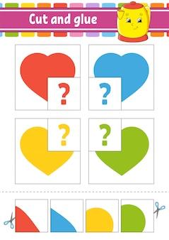 Taglia e incolla. quattro schede flash. puzzle a colori. foglio di lavoro per lo sviluppo dell'istruzione. pagina delle attività. gioco per bambini.