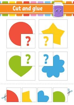 Taglia e incolla. quattro schede flash. puzzle a colori