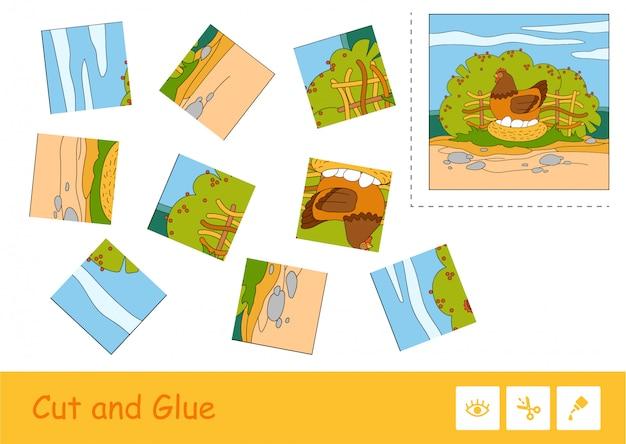 Taglia i pezzi, raccogli e incolla il puzzle imparando il gioco dei bambini con l'immagine a colori del pollo nidiata seduto sulle uova.