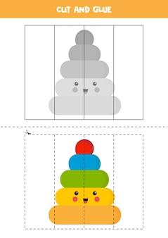 Taglia l'immagine della simpatica piramide kawaii e incollala per parti. gioco logico educativo per bambini. puzzle per bambini in età prescolare.
