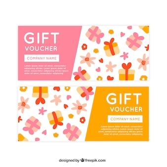 Tagliandi decorativi con doni disegnati a mano