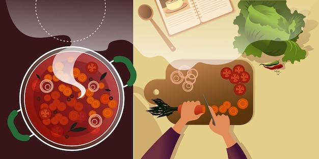 Tagliare le verdure a pezzi su un tagliere per borsch.