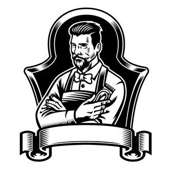 Tagliatori della tenuta del barbiere con il nastro in bianco per testo