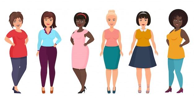 Taglie forti moda donna. ragazza femminile formosa e sovrappeso in abiti casual.