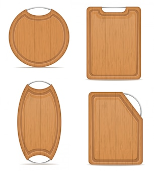 Tagliere in legno con illustrazione vettoriale maniglia di metallo