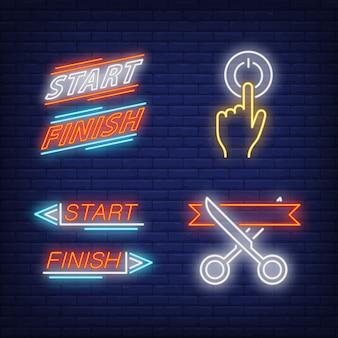 Taglio del nastro, accensione, inizio e fine set di insegne al neon