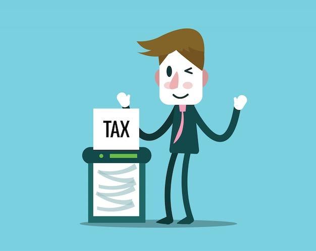 Taglio dell'uomo d'affari tasse carta da taglio macchina. concetto di finanza e profitto. elementi di design piatto. illustrazione vettoriale