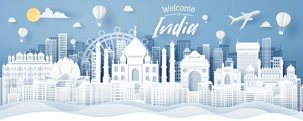 Taglio della carta del concetto del punto di riferimento, del viaggio e del turismo dell'india.