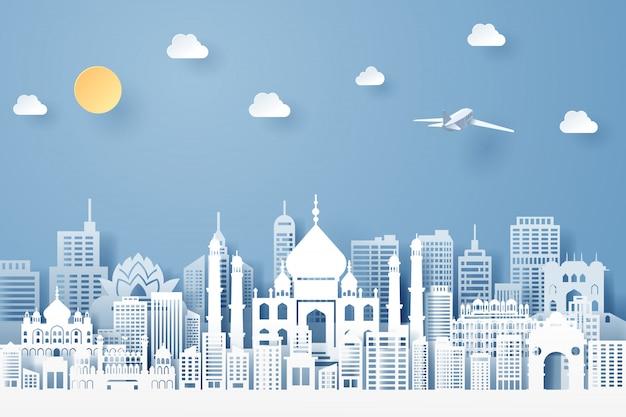 Taglio della carta del concetto del punto di riferimento, del viaggio e di turismo dell'india