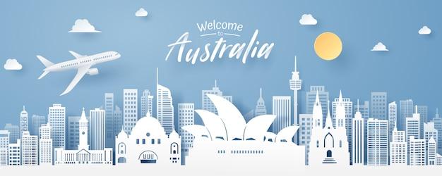 Taglio della carta del punto di riferimento dell'australia