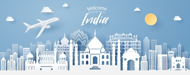 Taglio della carta del punto di riferimento dell'india