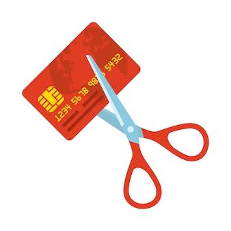 Taglio della carta di credito rossa con le forbici