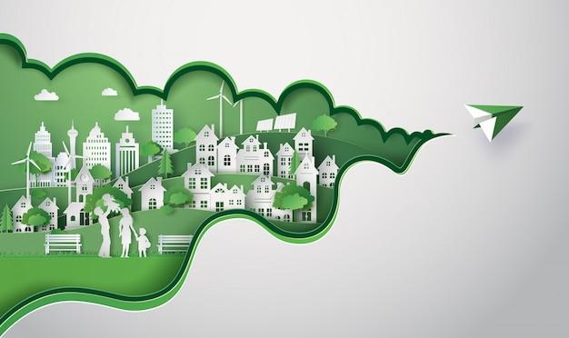 Taglio della carta di eco city