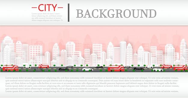 Taglio della carta vettoriale e paesaggio urbano con edifici e case e uno sfondo di una rivista.