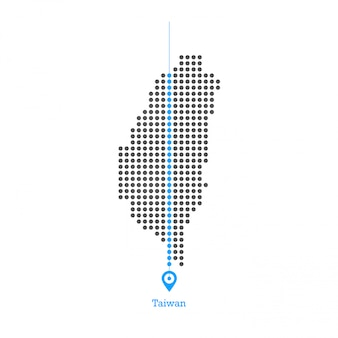 Taiwan doted map design vettoriale