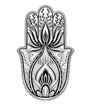 Talismano magico hamsa religione asiatica. grafica a colori nera nella priorità bassa bianca. motivo del tatuaggio.
