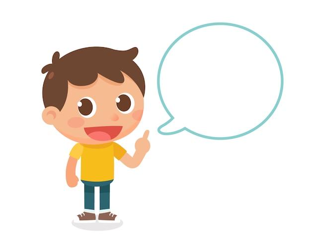 Talking kid. design piatto personaggio.