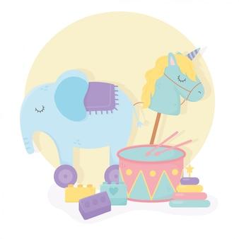 Tamburo elefante con ruote bastoncini di cavallo blocchi cartoon giocattoli per bambini