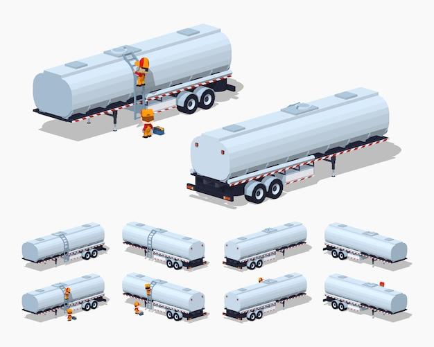 Tank-trailer isometrico 3d lowpoly in argento