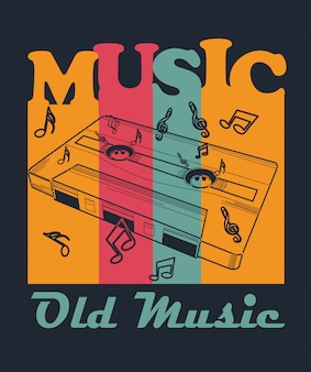 Tape old music per t shirt design