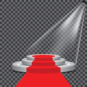 Tappeto rosso sul palco del podio con con riflettori