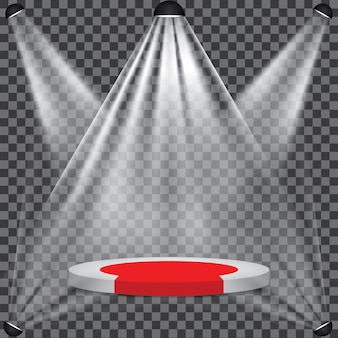 Tappeto rosso sul palco del podio con riflettori