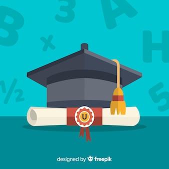 Tappo di laurea e diploma con design piatto