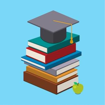 Tappo di laurea sui libri.