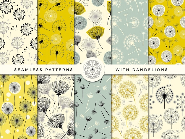 Tarassaco senza soluzione di continuità. collezione di erbe fiori natura vento decorare per progetto di design di stampa